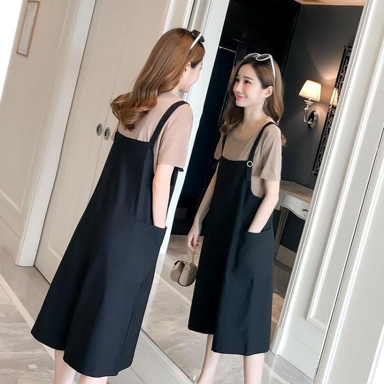 2018夏装大妈女装孕妇装短袖T恤+宽松阔腿背带裤两件休闲时尚套装