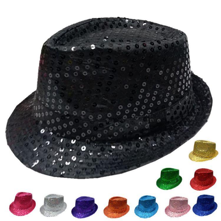 厂家直销外贸爆款礼帽 亮片舞台表演礼帽荧光珠片帽子
