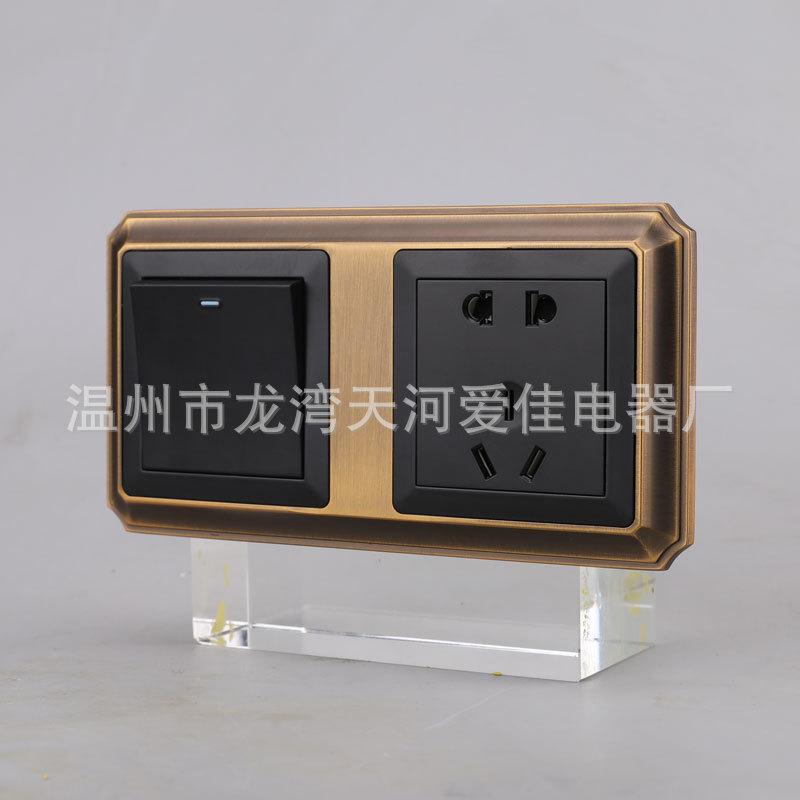 酒店开关插座床头柜开关印字定制HDMI 五孔一开双连体组合面板