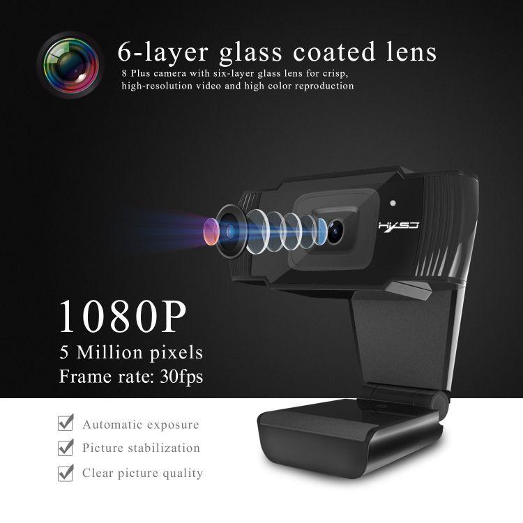 新款HXSJS70高清自动对焦摄像头500万像素支持720P 1080视频通话