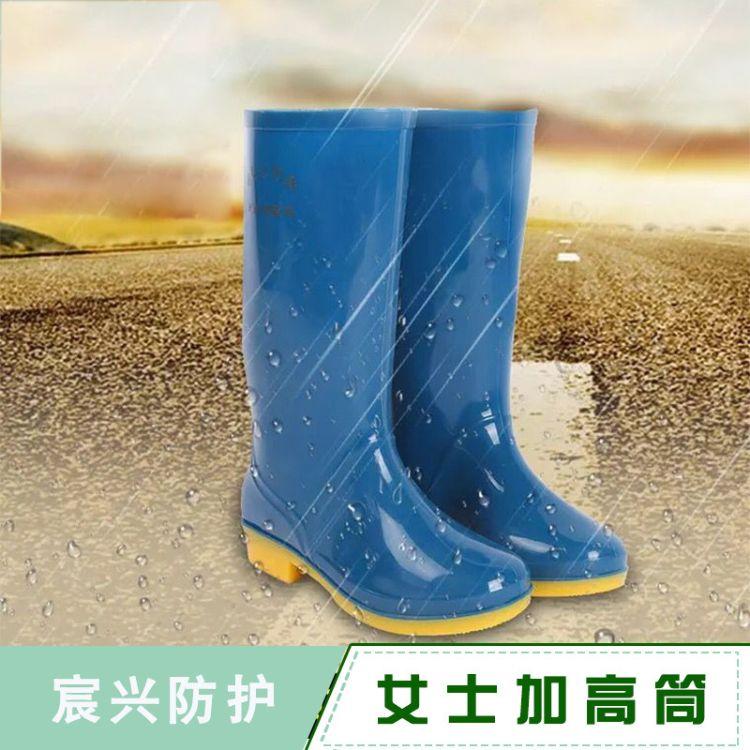 厂家直销女士中高筒雨鞋胶鞋 pvc水鞋磨防滑水靴 牛筋底劳保胶靴