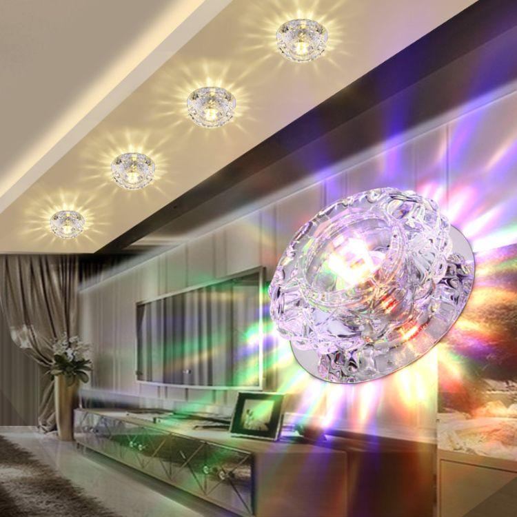 led水晶灯筒灯射灯吸顶灯过道灯走廊灯玄关灯嵌入式开孔5-8公分
