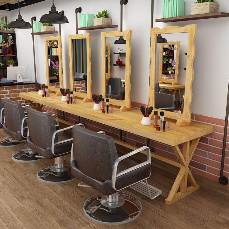 直销复古美式镜台实木镜台中工理发店烫染镜染发桌发廊镜单双面镜