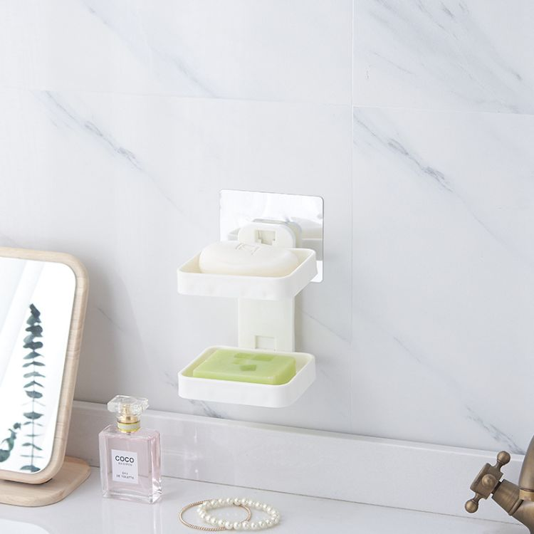 免打孔肥皂盒沥水创意壁挂香皂架浴室置物卫生间香罩双层皂盒厂家