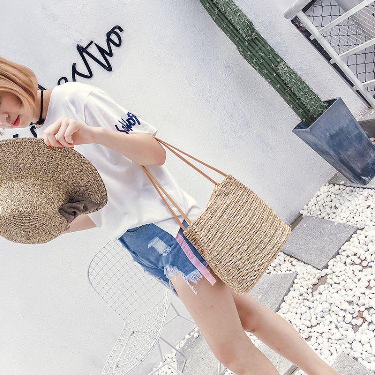 2017夏季新款草编包韩版休闲度假沙滩包编织水桶包单肩包女