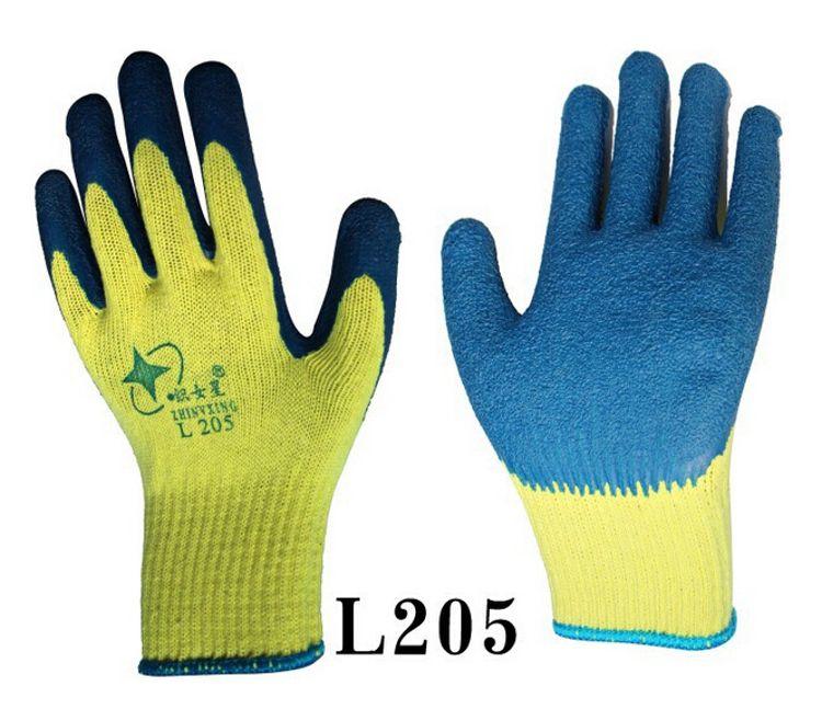 星宇L205织女星十针粗涤棉纱线天然乳胶皱纹手套防滑劳保星宇手套