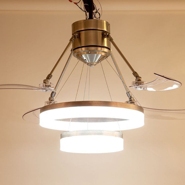厂家直销双层圆环现代简约亚克力风扇灯隐形吊扇灯客餐厅卧室灯具