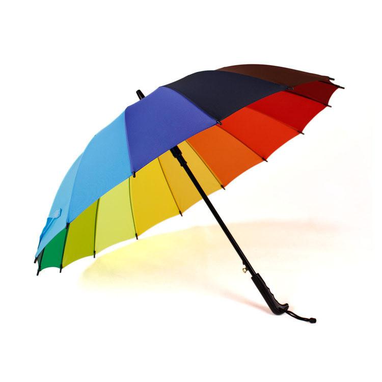 创意晴雨伞商务伞定制印log广告伞彩虹伞 新款长柄直杆彩虹雨伞