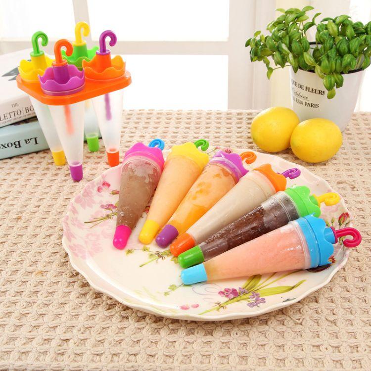 6格伞形冰棒模具塑料雪糕模具冰格创意卡通冰棍模 冰淇淋模