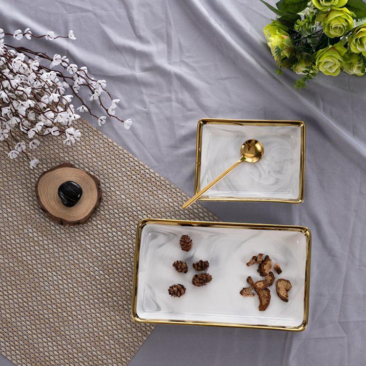 石纹金边陶瓷盘 北欧创意酒店摆盘中国风西餐盘方形深盘