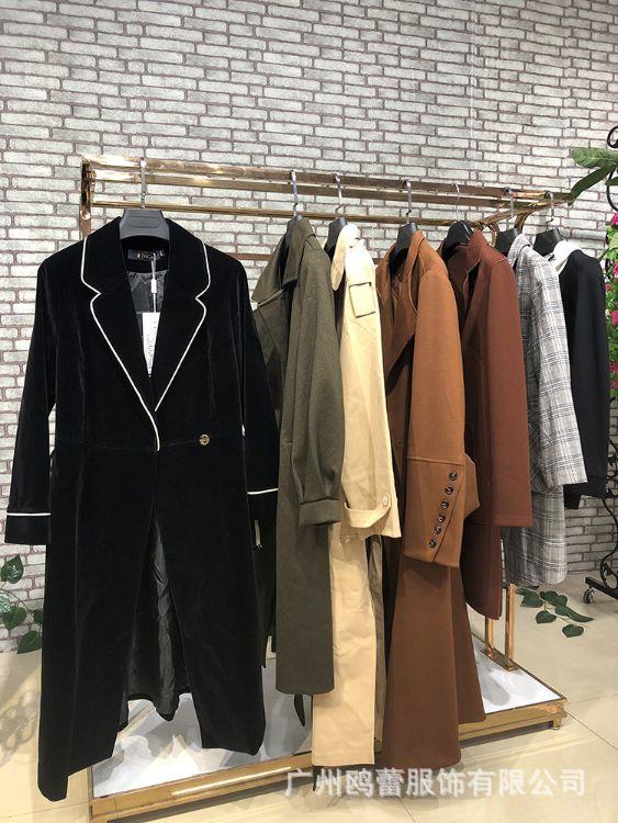 现货2017大码女式风衣外套休闲套装品牌折扣批发