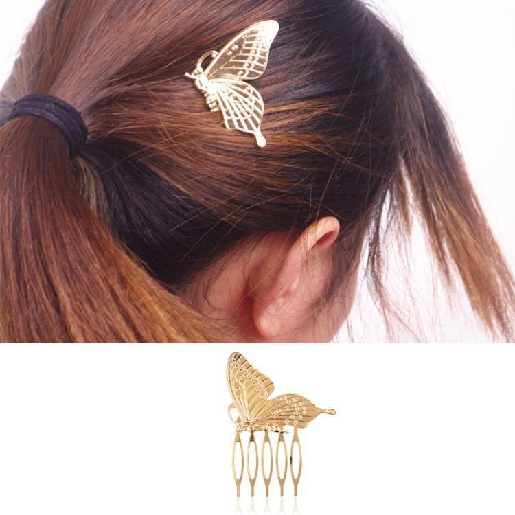 欧美外贸饰品 时尚百搭 金属蝴蝶发梳插梳