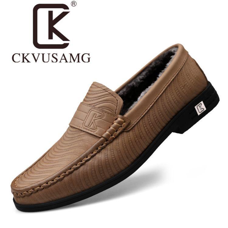 冬季套脚皮鞋男士真皮头层黄牛皮商务休闲鞋软皮爸爸鞋加绒男鞋子