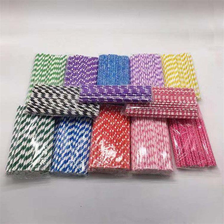 星后新环保纸质吸管八色直式吸管婚宴生日宴会用一次性彩条纸吸管