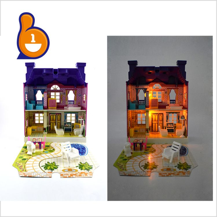 【新品】热销带灯光音乐粉红仿真别墅玩具 儿童过家家小孩家具