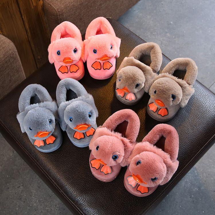 儿童棉拖鞋冬女童男童婴幼儿宝宝小孩防滑包跟家居卡通小鸭子拖鞋