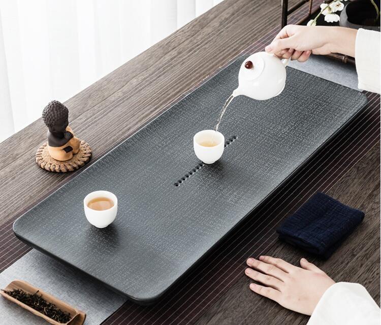 天然烏金石茶盤小號大號石材茶海道茶具套裝托盤家用簡約石頭茶臺
