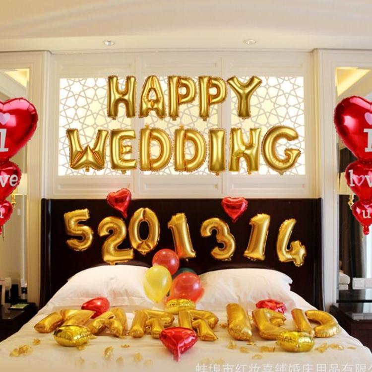 婚房布置用品婚礼装饰结婚生日派对字母数字铝箔铝膜气球创意批发