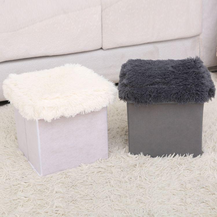 厂家直销折叠棉麻收纳凳布艺储物凳多功能新款收纳箱换鞋凳储物盒
