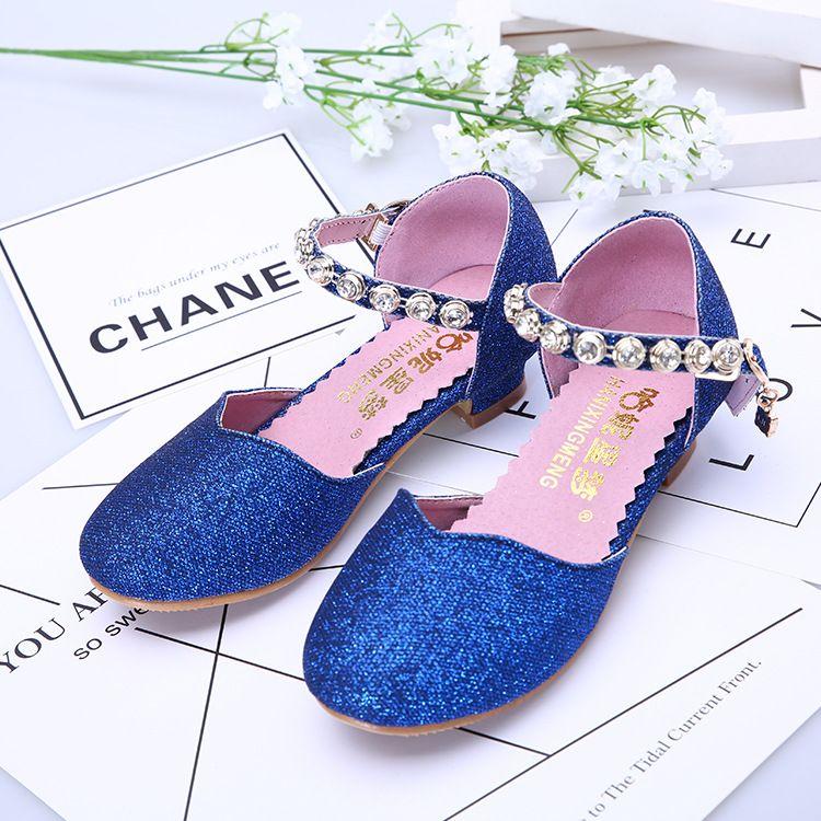 2018年春夏韩版童鞋蓝色时尚女童公主鞋凉鞋水钻儿童跳舞鞋批发