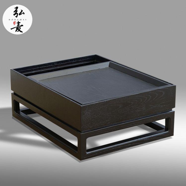 弘麦 新中式炕几简约禅意飘窗小茶桌白蜡木实木炕桌榻榻米茶几