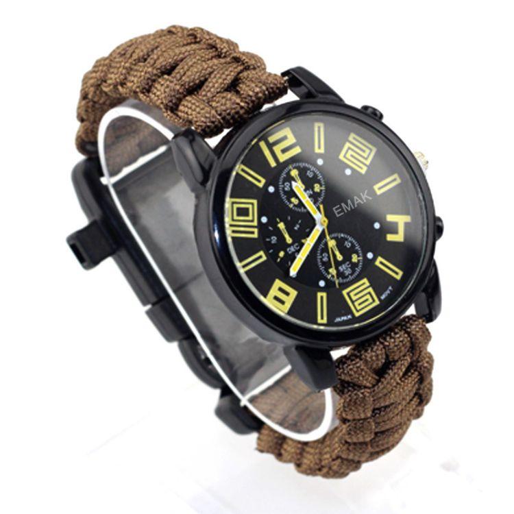 欧美时尚商务男士手表液体指南针多功能求生口哨镁棒打火石登山表