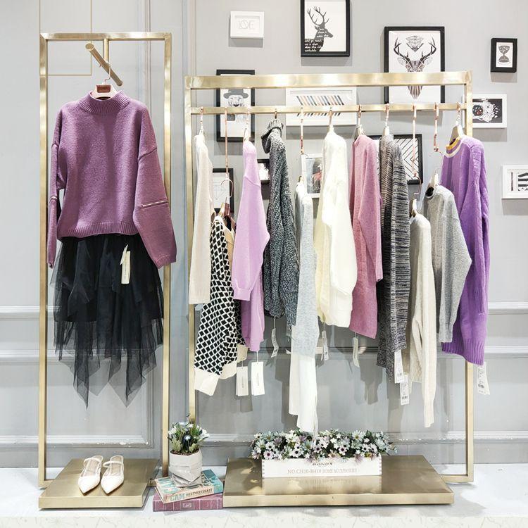 森塔斯女装品牌简约羊绒毛衣折扣尾货批发走份