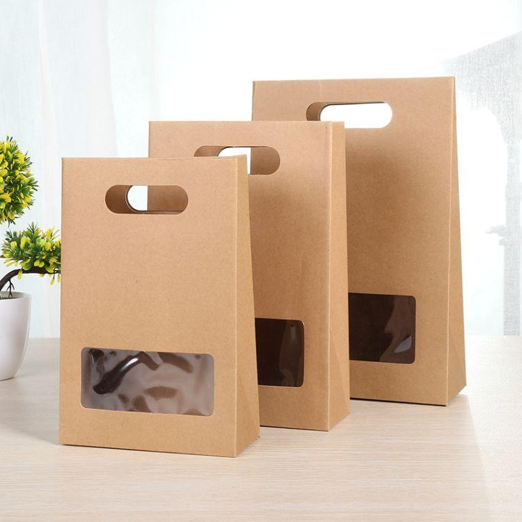 新款开窗牛皮纸袋 茶叶坚果食品包装手提袋精致礼品袋厂家定制