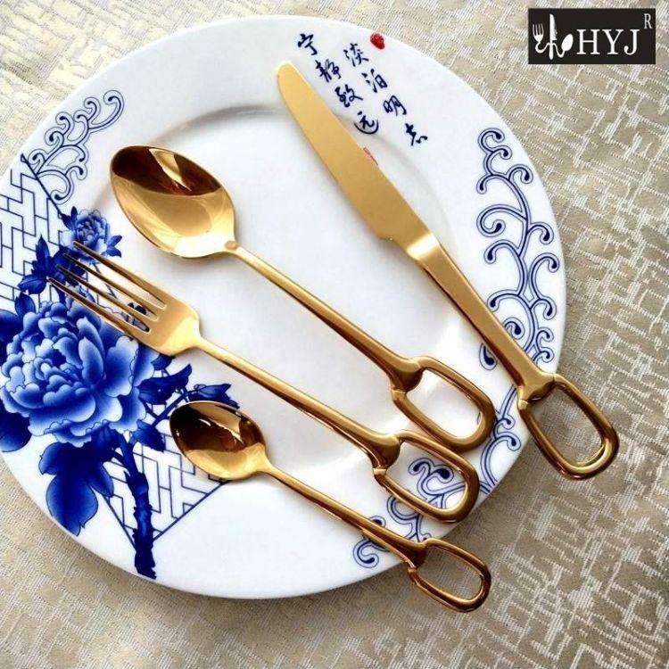 不锈钢餐具西餐刀叉勺镀金桌面摆件304 材质餐叉餐更茶更厂家直销