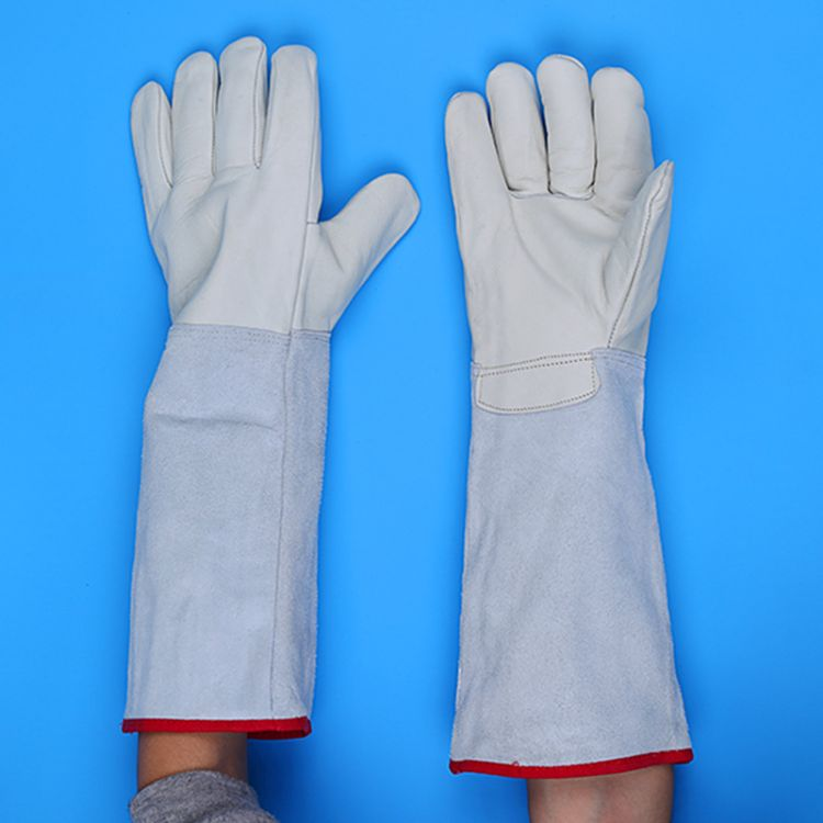 防液氮36 62CM耐低温干冰手套牛皮冷库防冻保暖防寒劳保超低温