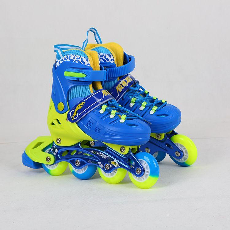 儿童全套装可调节长短闪光男女溜冰鞋 PU轮轮滑鞋 直排滑冰鞋