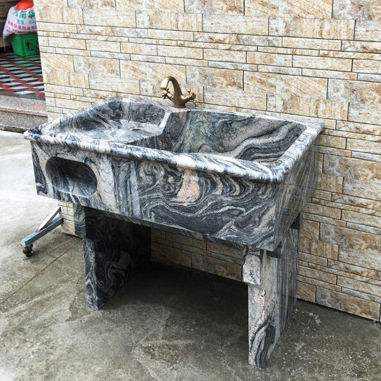 石头洗衣池大理石洗手盆洗衣盆一体洗衣槽阳台带搓衣板洗手盆