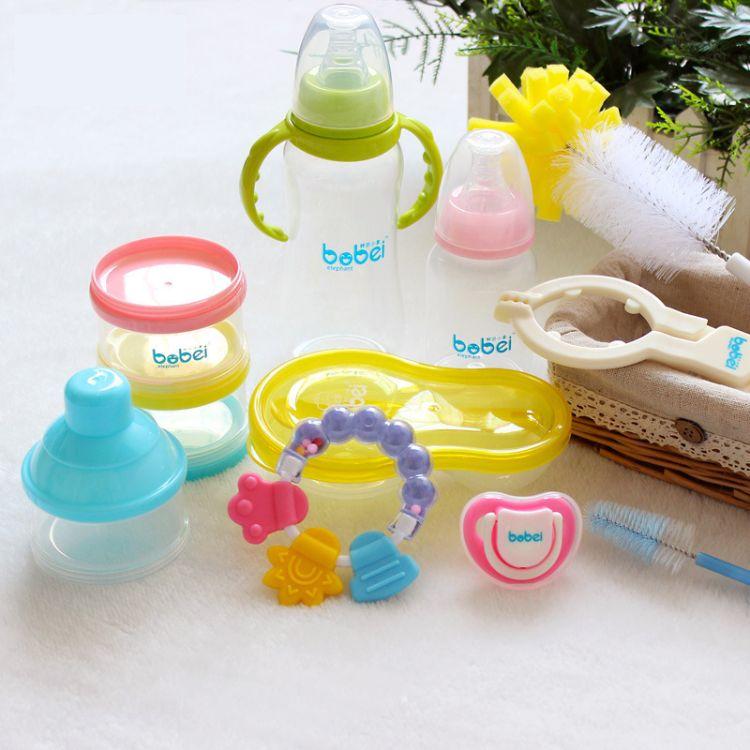 带手柄防撞婴儿实感奶嘴新生儿奶瓶礼盒套装梳刷玩具十件套婴儿