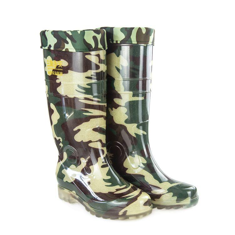 厂家直销男士高筒迷彩水鞋加棉加绒雨鞋四季可穿大量批发量大价优