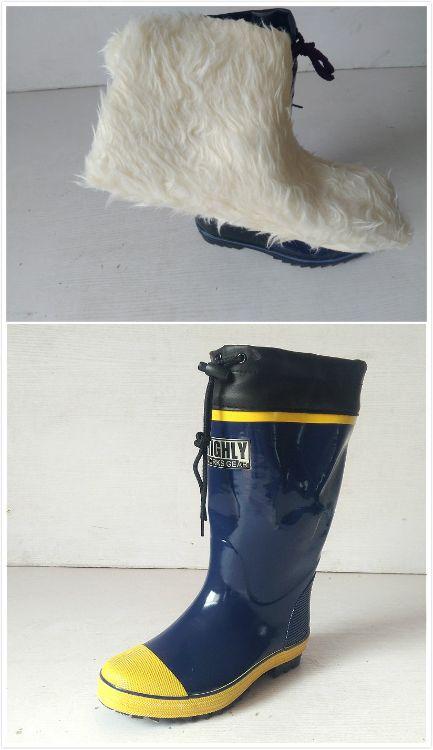男款保暖橡胶雨靴雨鞋防水雨靴送毛绒内胆套鞋