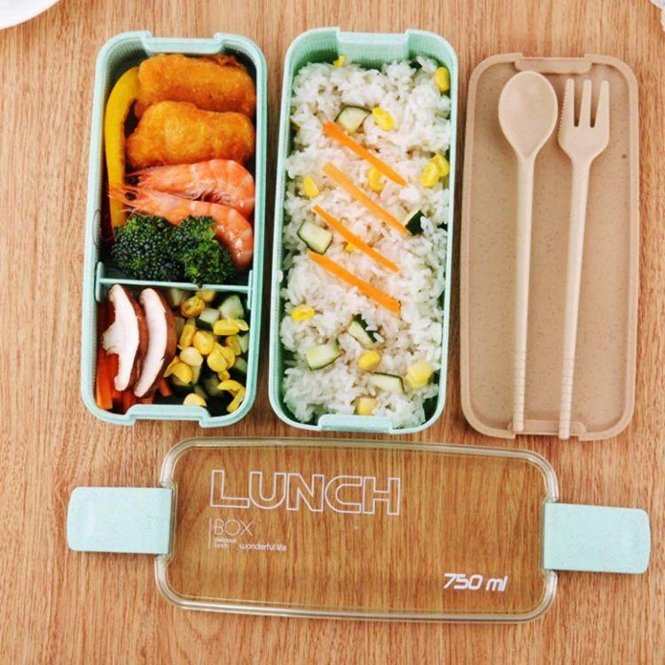 环保麦秸秆饭盒 750ml双层短扣便当盒塑料微波炉可用餐具礼品日式餐盒定制批发