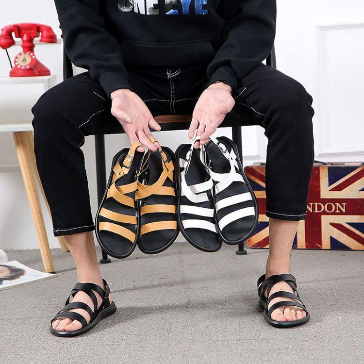 速卖通2018夏季新款男鞋露趾凉鞋休闲沙滩罗马鞋潮流男士拖鞋个性