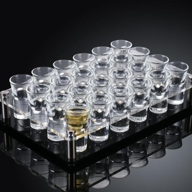 亚克力酒杯架透明格杯架白酒杯架烈酒置物盘物品盘会议室用品定制