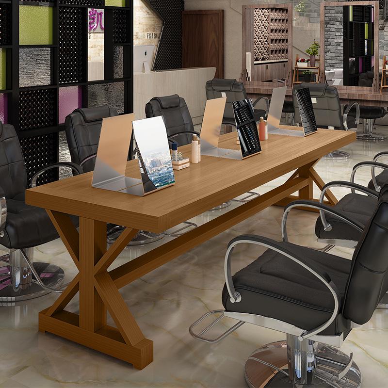 美式复古美发店镜台发廊烫染区镜台理发店镜子潮店烫染桌台式移动