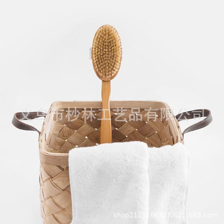 日系新品楠竹单面可拆卸猪鬃浴刷洗澡刷沐浴刷外贸热销 LOGO定制