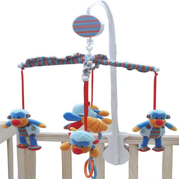 新款婴儿床铃音乐旋转挂铃柔软动物毛绒玩具玩偶新生儿床挂音乐盒