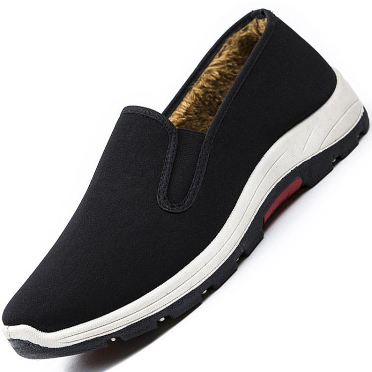 冬季男款 加厚防滑耐磨橡筋底登山鞋休闲鞋 老北京传统工艺懒人鞋