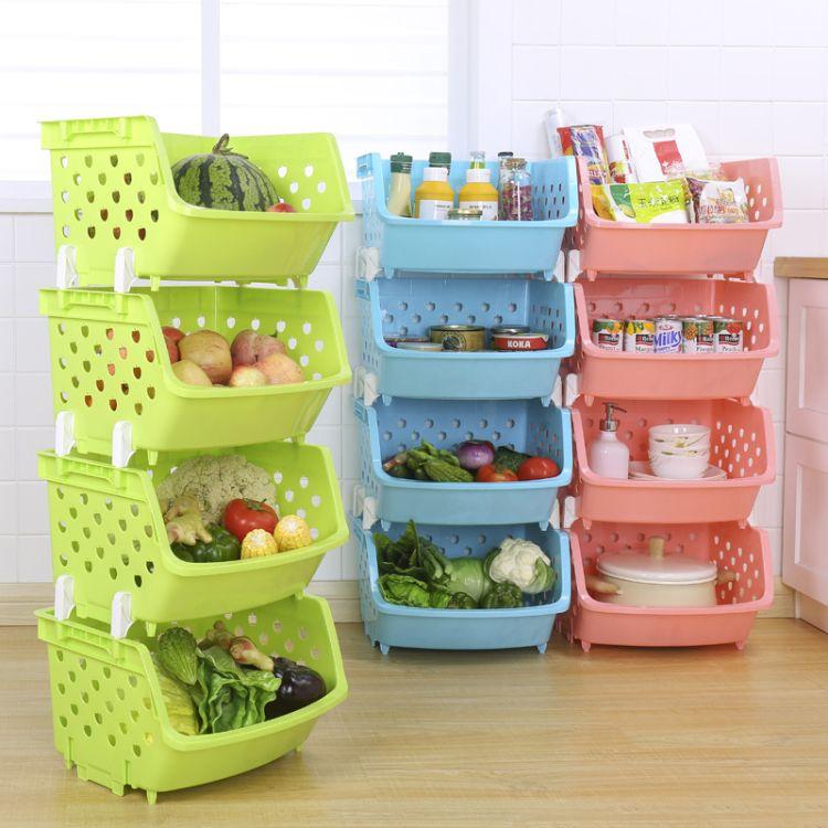 创意多功能家用叠加果蔬筐时尚厨房收纳塑料筐收纳篮批发厂家直销