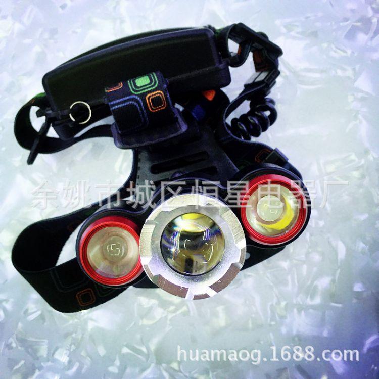 厂家直销充电强光头灯 T6调焦头灯 三灯头灯