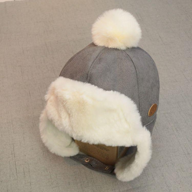 宝宝加毛绒加厚雷锋帽儿童秋冬防寒挡风保暖帽子男童小女孩护耳帽