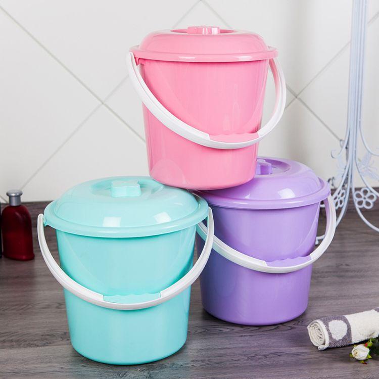 厂家直销便捷加厚塑料手提水桶带盖储水洗衣家务清洁水桶礼品定制