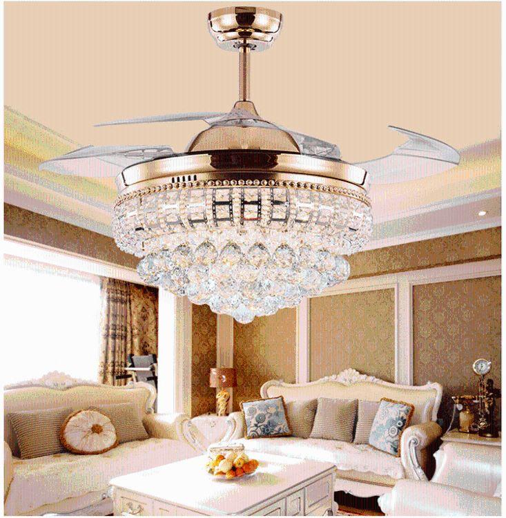 厂家直销水晶吊灯风扇灯led餐厅电扇灯客厅卧室欧式铜电机风扇