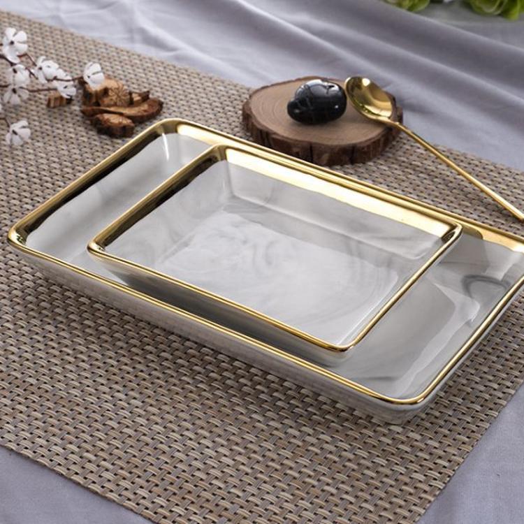 方形陶瓷盘 石纹金边盘子北欧创意酒店摆盘中国风西餐盘果盘深盘