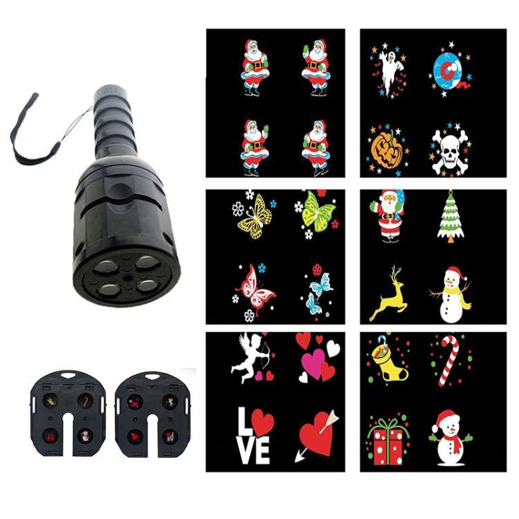 新款 超高亮手电筒菲林图案投影灯 LED动画灯 圣诞万圣舞台灯