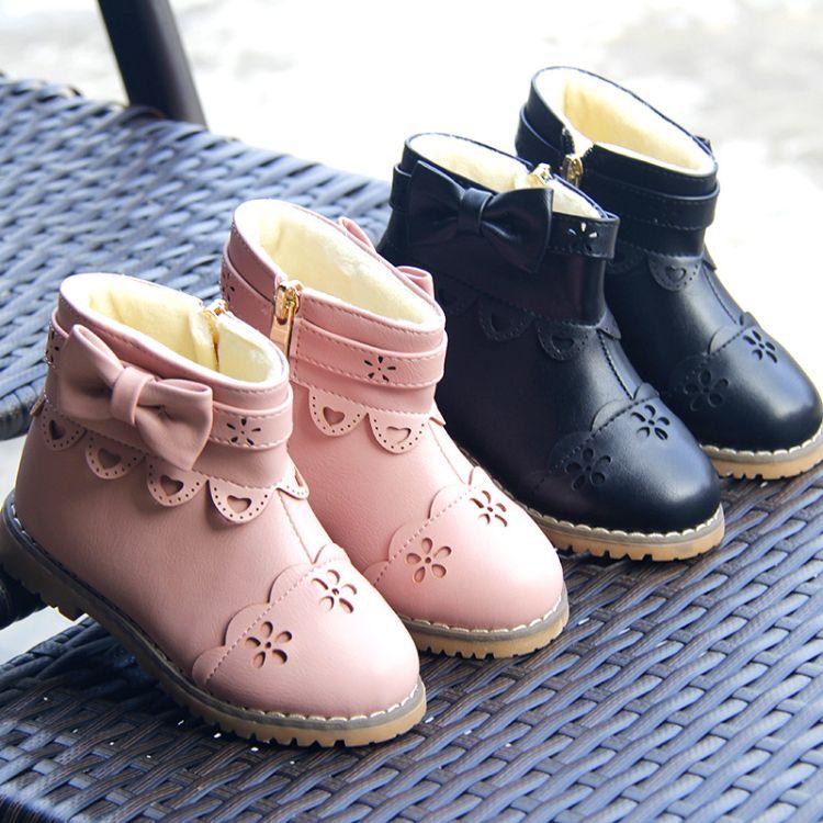 冬季新款时尚潮流花边童鞋韩版爱心蝴蝶结防滑低筒保暖女童靴批发